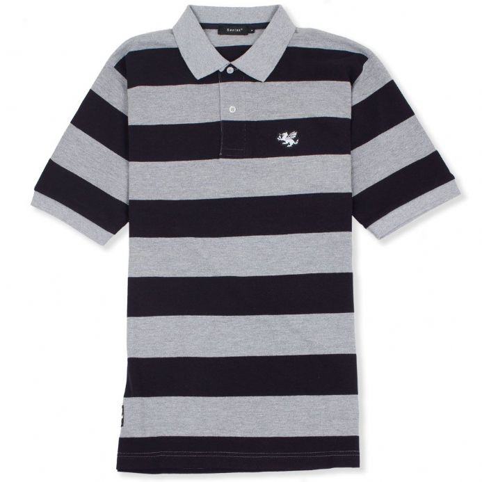 Senlak Striped Pique Anglo-Saxon Inspired Polo Shirt - Navy/Grey